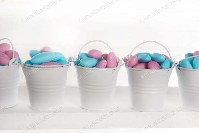 Blue and pink colored candy