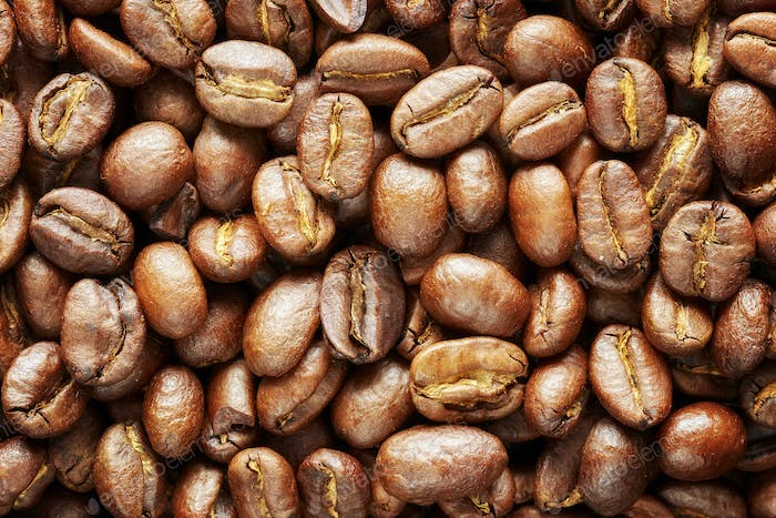Roasted coffee beans, natural food background