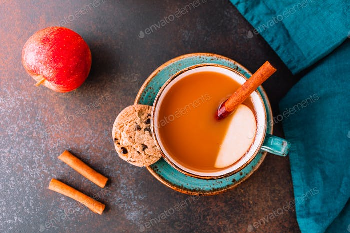 Wintertime chai-spiced apple cider with assam tea, cinnamon, ginger, cardamom and almond milk