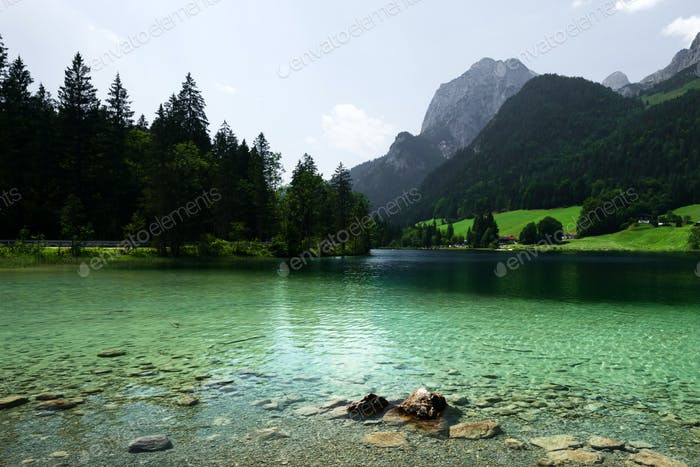 Amazing misty summer day on the Hintersee