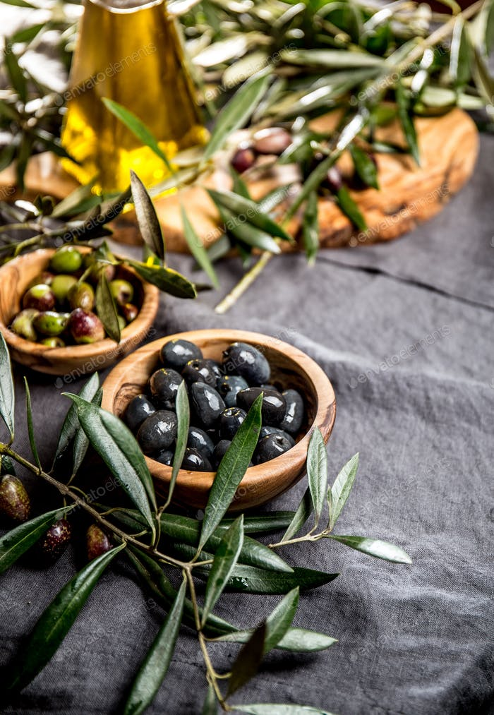 Fresh Olives, Olive Oil and Olives Tree Leaves