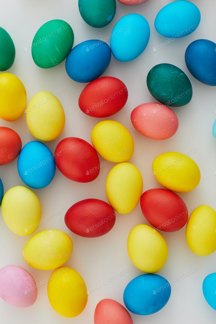 Multi-colored Easter Eggs Background