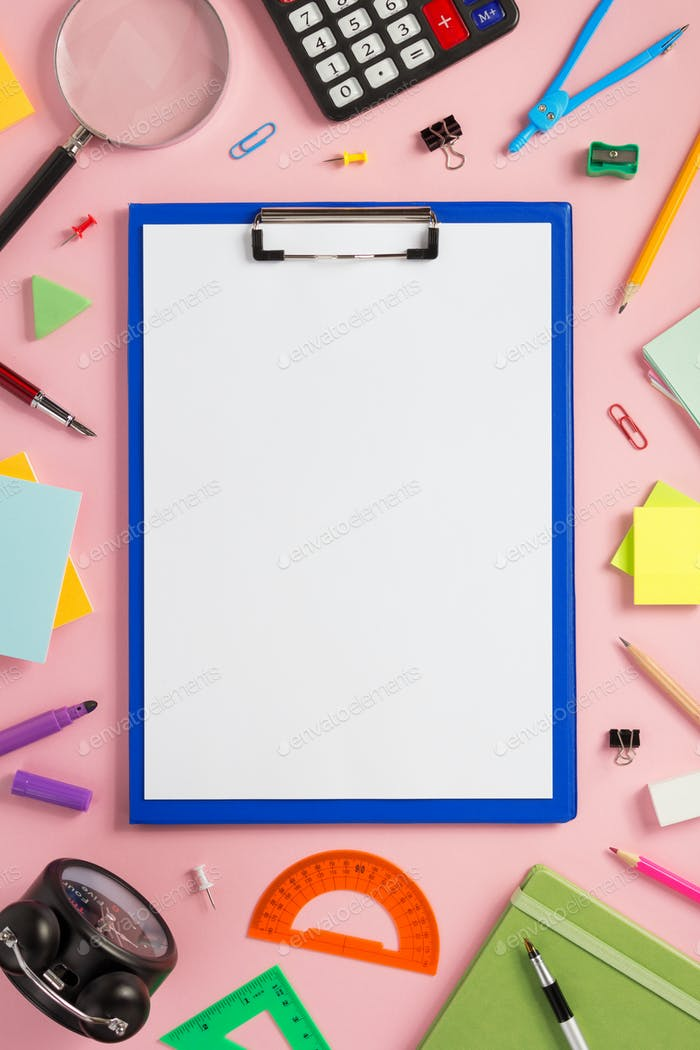 paper clipboard and school  supplies