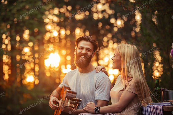 Sunset and guitar