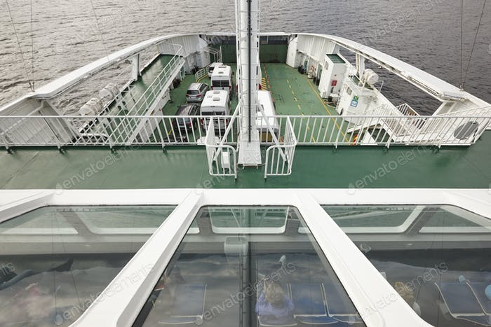 Norwegian ferry detail. Norway fjord transport. Travel background. Tourism