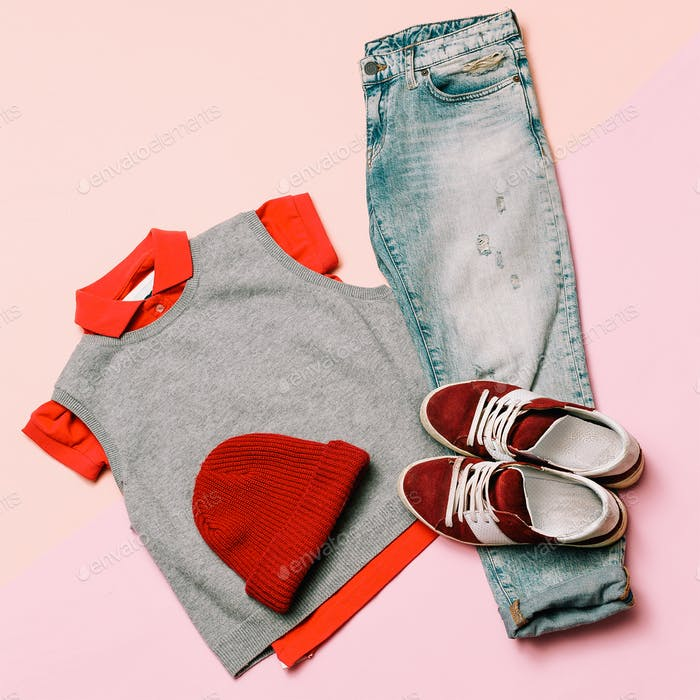 Stylish clothes set. City casual fashion. Spring. Denim and acce