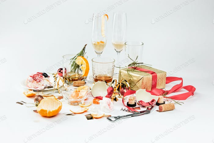 The morning after christmas day, table with alcohol and leftovers