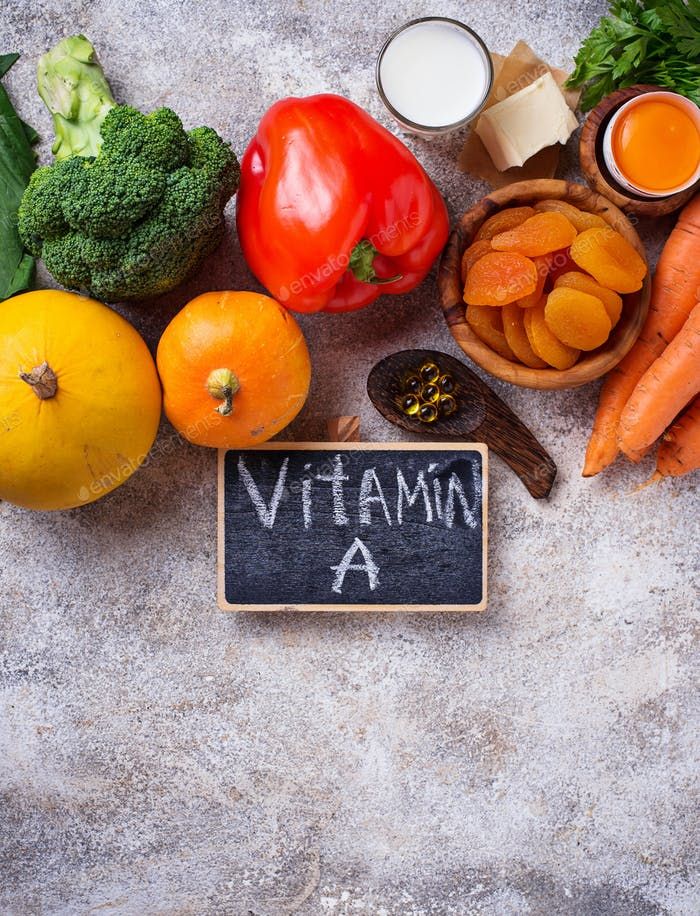 Healthy products rich in vitamin A