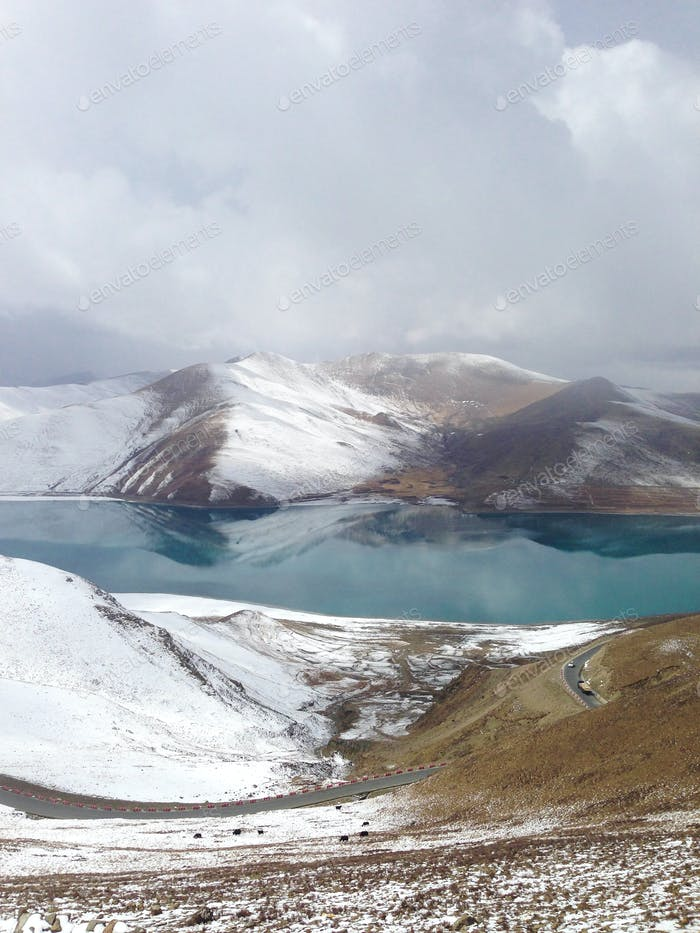 Beautiful panorama of the mountains and lake.