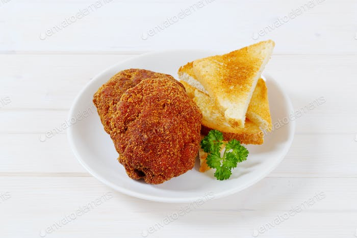 fried burgers with toasted bread