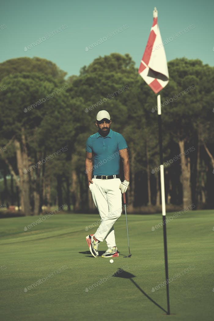 golf player portrait at course