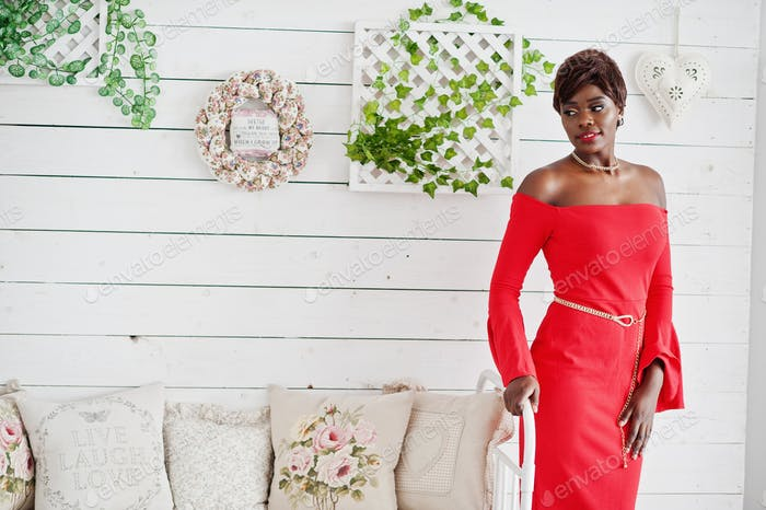 African american model in red beauty dress