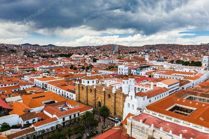 Aerial view of old streets of the colonial city Sucre, Bolivia