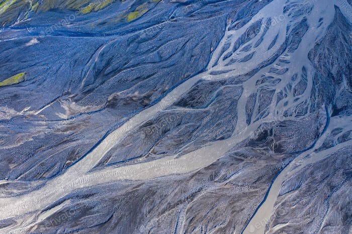 Aerial drone view of a huge glacier riverbed, Iceland