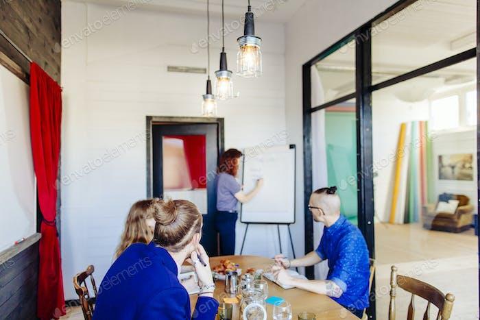 Geschäftsleute beobachten weibliche Kollegin Präsentation im Sitzungsraum