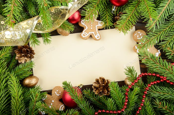 Flat lay mockup of holiday greeting card made of brown craft pap