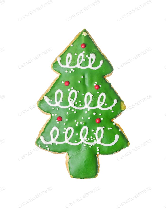Christmas tree cookie isolated on white