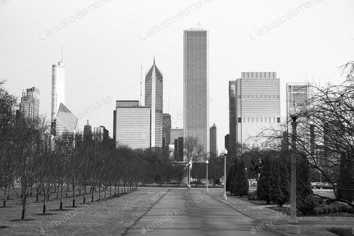 Chicago Downtown City Skyline Millennium Park Winter
