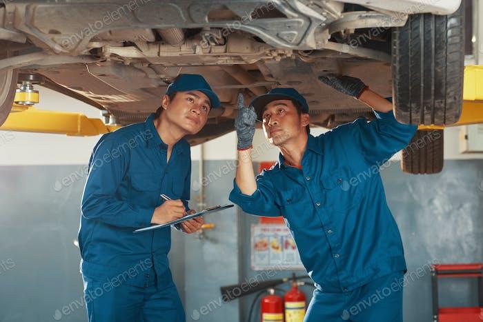 Mechanics inspecting problems