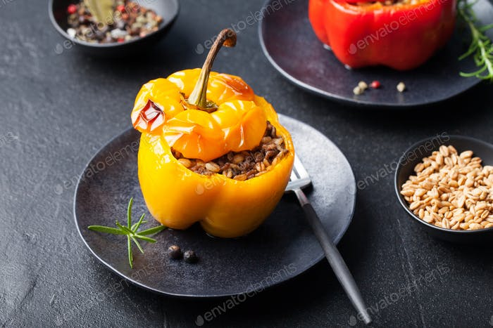 Baked stuffed bell peppers, spelt wheat, rice