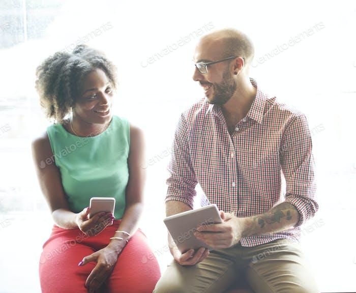 Couple Friends Talking Planning Concept