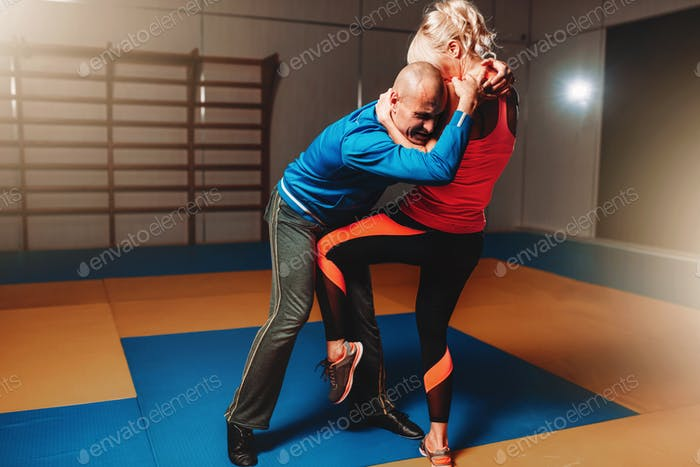 Womens self defense workout with instructor