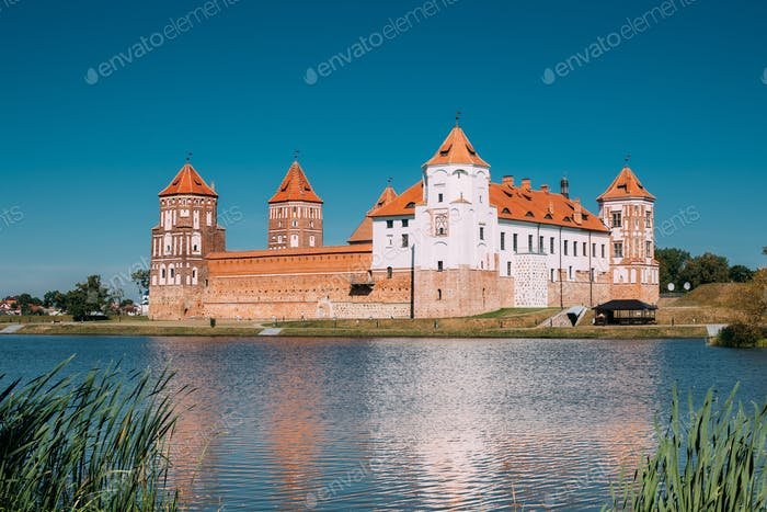 Mir, Belarus. View Of Mir Castle Complex, Ancient Monument, Unes