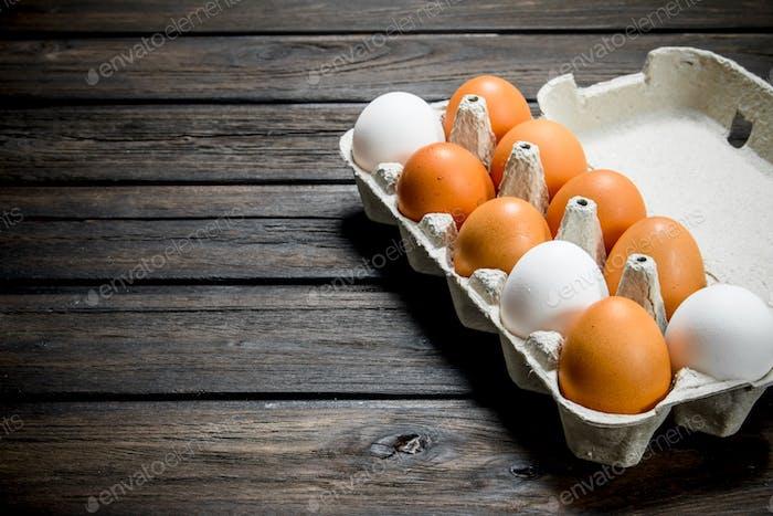 Cassette of fresh eggs.