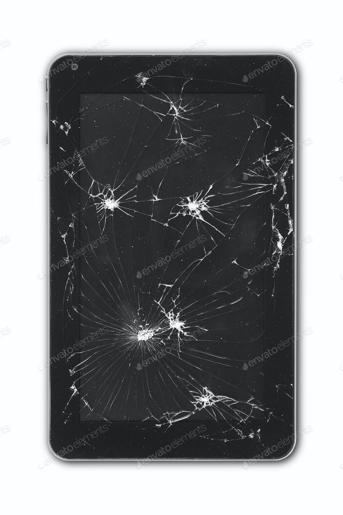 Tablet with damaged screen isolated on white. Repair equipment. Crash