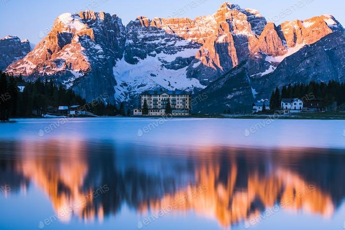 Spectacular sunrise over Misurina Lake in Italy,Dolomites mounta