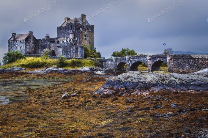Dramatic landscape view of Eilean Donan castle, Scotland