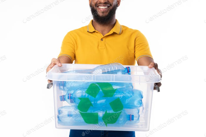 Man Holding Box With Bottles For Disposal And Recycling, Studio