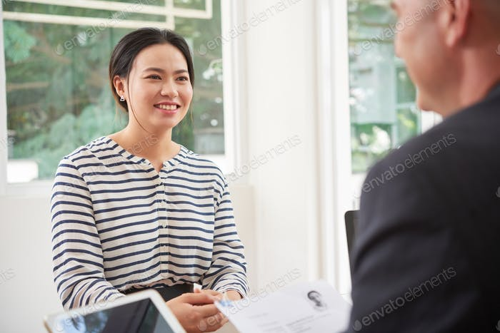 Woman at business interview