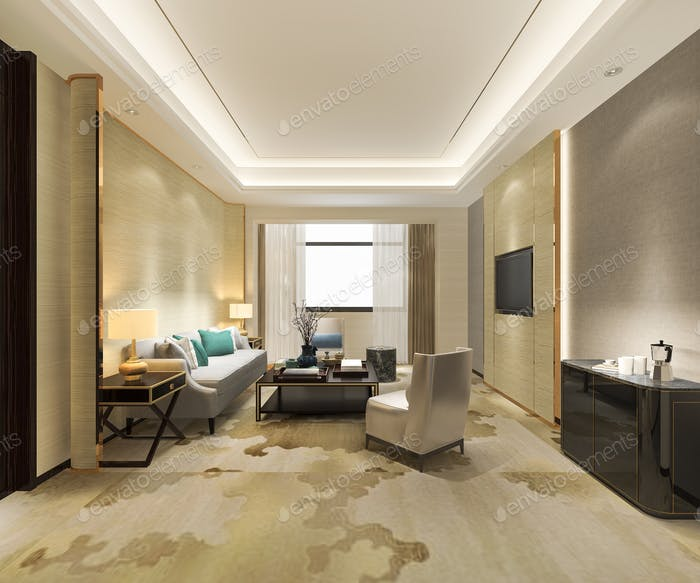 3d rendering luxury and modern living room in suite hotel with carpet