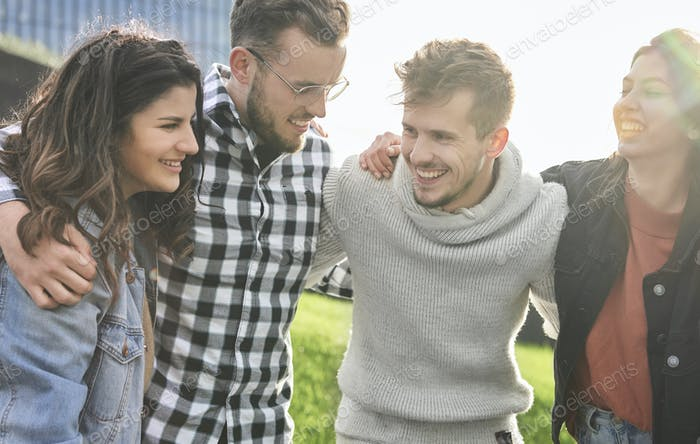 Young people having happy time together