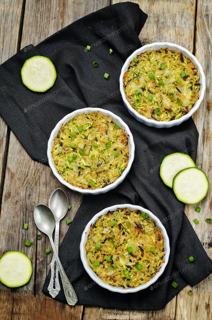 Brown and wild rice zucchini casserole