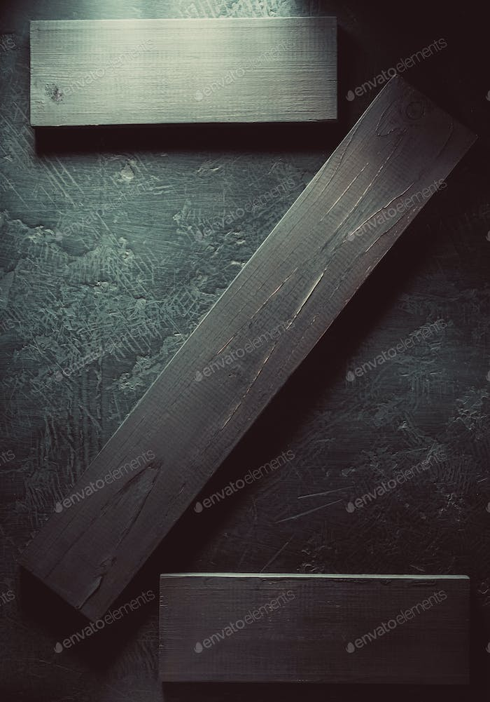 wooden board at black background