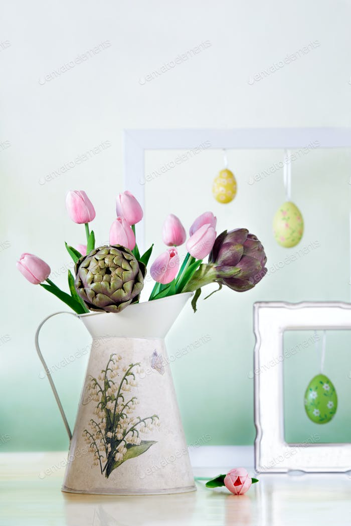 Pitcher With Tulips And Artichokes