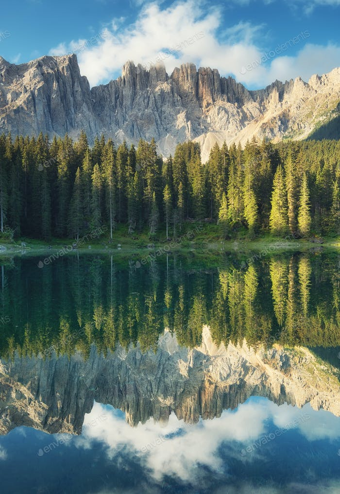 Lago di Carezza, Dolomite Alps, Italy. Lake, forest and mountains.