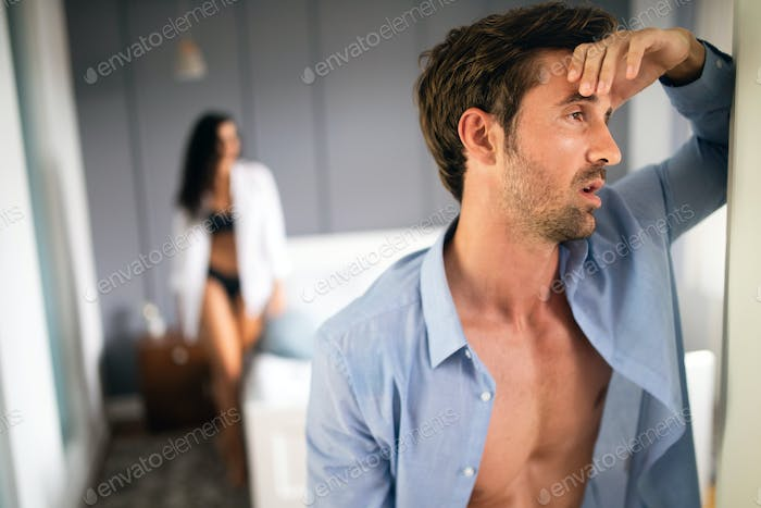Young couple having problems in relationship due to infidelity