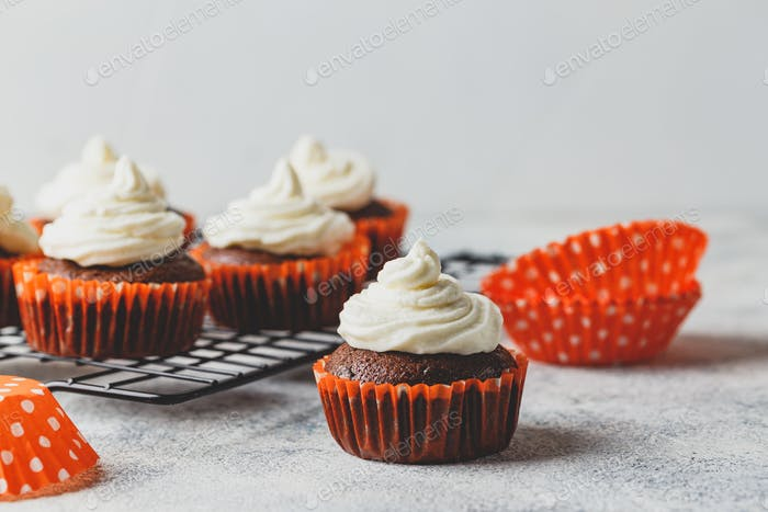 Chocolate cupcakes with cap of cheese cream