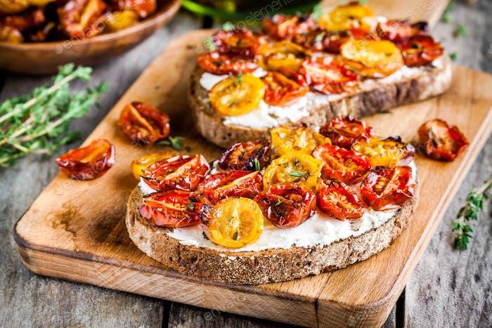 fresh bruschetta with cream cheese and sun dried tomatoes