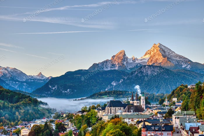 The city of Berchtesgaden and Mount Watzmann