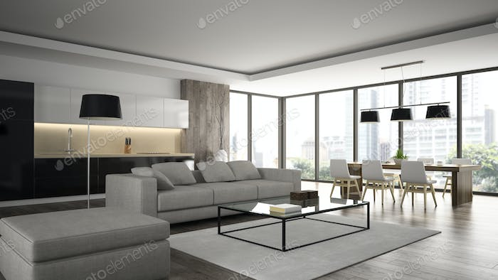 Interior of the modern design  loft  angle view 3D rendering