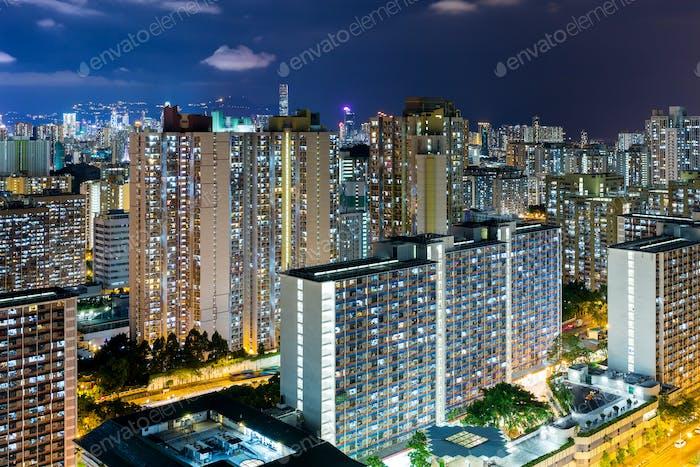 Hong Kong city life at night