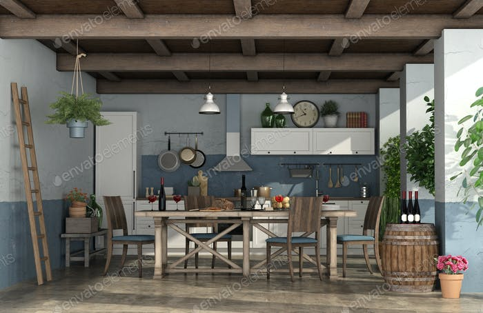 Old veranda with kitchen in rustic style