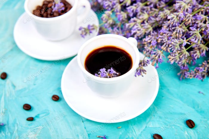 Coffee and lavender flower