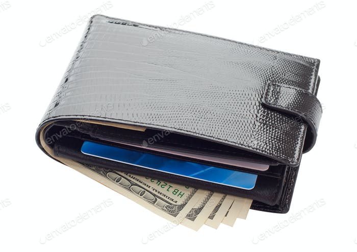 Black leather wallet with cards and money