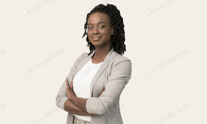 Afro Businesswoman Smiling At Camera Crossing Hands Posing, White Background