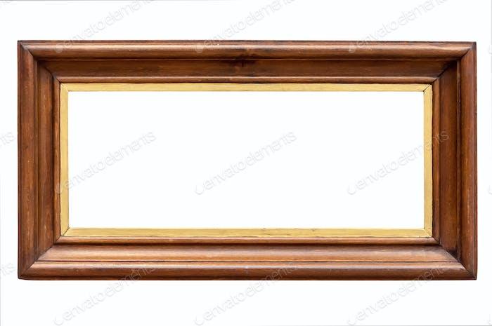 Dark wooden picture frame on white backround